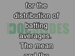 a) Here is a Normal curve for the distribution of batting averages.  The mean and the points one, t