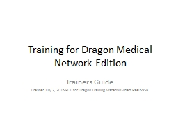 Training for Dragon Medical Network Edition