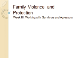 Family Violence and Protection
