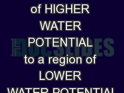 Water moves from a region of HIGHER WATER POTENTIAL to a region of LOWER WATER POTENTIAL PowerPoint PPT Presentation