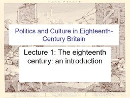 Politics and Culture in Eighteenth-Century Britain
