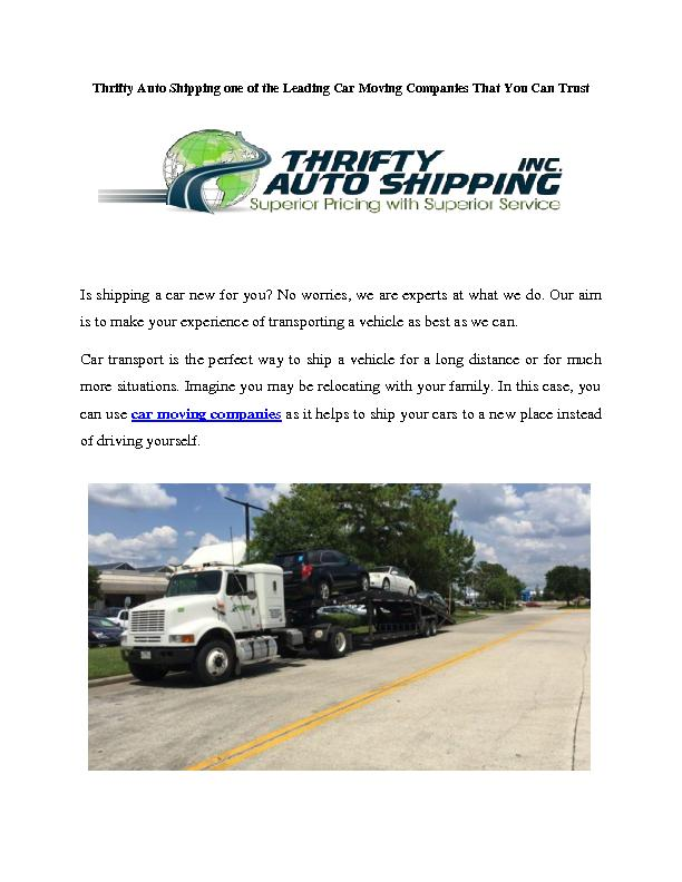Thrifty Auto Shipping one of the Leading Car Moving Companies That You Can Trust