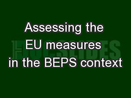 Assessing the EU measures in the BEPS context