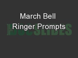 March Bell Ringer Prompts