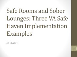 Safe Rooms and Sober Lounges: Three VA Safe Haven Implementation Examples
