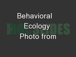 Behavioral   Ecology Photo from