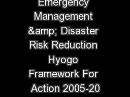 International Emergency Management & Disaster Risk Reduction Hyogo Framework For Action 2005-20