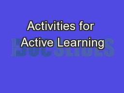 Activities for Active Learning PowerPoint PPT Presentation