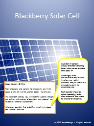 Blackberry Solar Cell Steps, Content & Hints