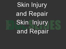 Skin Injury and Repair Skin  Injury and Repair