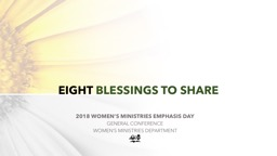 EIGHT  BLESSINGS TO SHARE