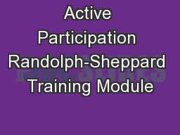 Active Participation Randolph-Sheppard Training Module