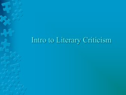 Intro to Literary Criticism