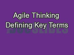 Agile Thinking Defining Key Terms