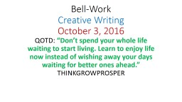 Bell-Work Creative Writing
