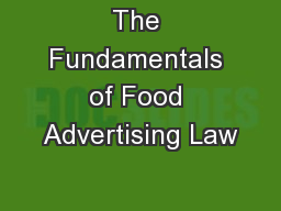 The Fundamentals of Food Advertising Law