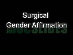 Surgical Gender Affirmation