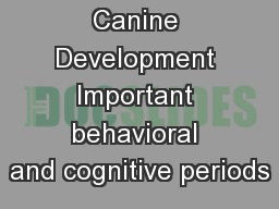 Canine Development Important behavioral and cognitive periods