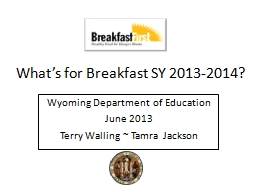 What's for Breakfast SY 2013-2014?