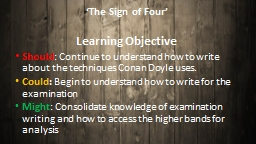 �The Sign of Four� Learning Objective