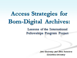 Access Strategies for Born-Digital Archives:
