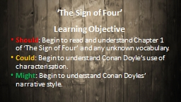 'The Sign of Four' Learning Objective