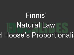 Finnis' Natural Law and Hoose's Proportionalism: