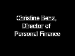 Christine Benz, Director of Personal Finance