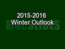 2015-2016 Winter Outlook