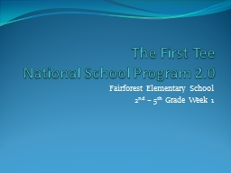 The First Tee  National School Program 2.0