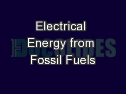 Electrical Energy from Fossil Fuels