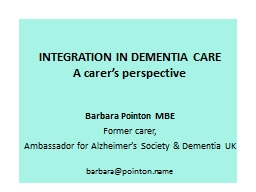 INTEGRATION IN DEMENTIA CARE