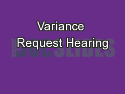 Variance Request Hearing