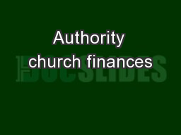 Authority church finances