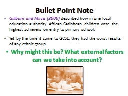 Bullet Point Note Gillborn and