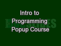 Intro to Programming Popup Course
