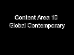 Content Area 10 Global Contemporary