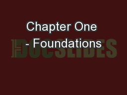 Chapter One - Foundations