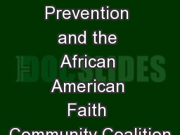 Suicide Prevention and the African American Faith Community Coalition