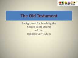 The Old Testament Background for Teaching the