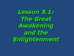Lesson 5.1:  The  Great Awakening