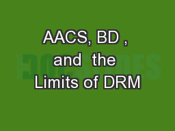 AACS, BD , and  the Limits of DRM