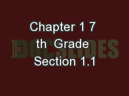 Chapter 1 7 th  Grade Section 1.1