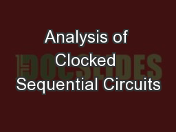 Analysis of Clocked Sequential Circuits