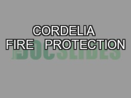 CORDELIA FIRE   PROTECTION