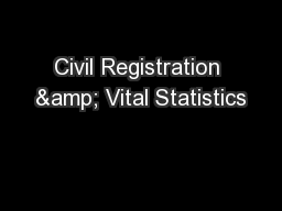 Civil Registration & Vital Statistics
