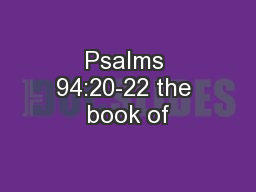 Psalms 94:20-22 the book of