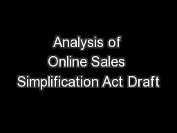 Analysis of Online Sales Simplification Act Draft