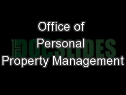 Office of Personal Property Management