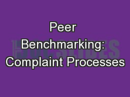 Peer Benchmarking: Complaint Processes